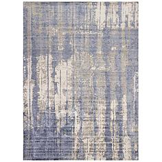 Indulge 0802 5'x7' Gray and Blue Drizzle Area Rug