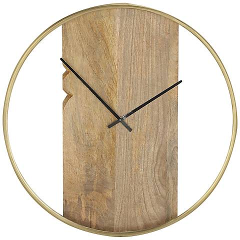 "Kiedis Natural and Brass 24"" Round Wall Clock"