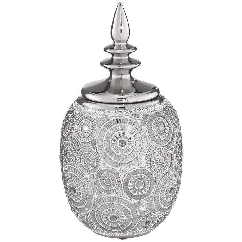 "Silver 13"" High Ceramic Decorative Jar with Lid"