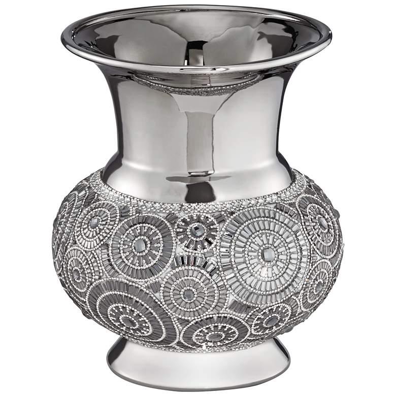 "Silver 9 1/2"" High Ceramic Vase"