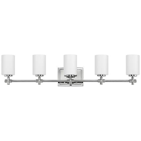 "Hinkley Laurel 35 3/4""W Polished Nickel 5-Light Bath Light"