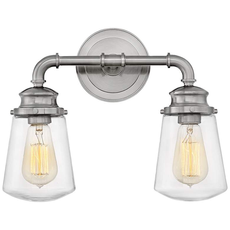 """Hinkley Fritz 11 3/4""""H Brushed Nickel 2-Light Wall Sconce"""
