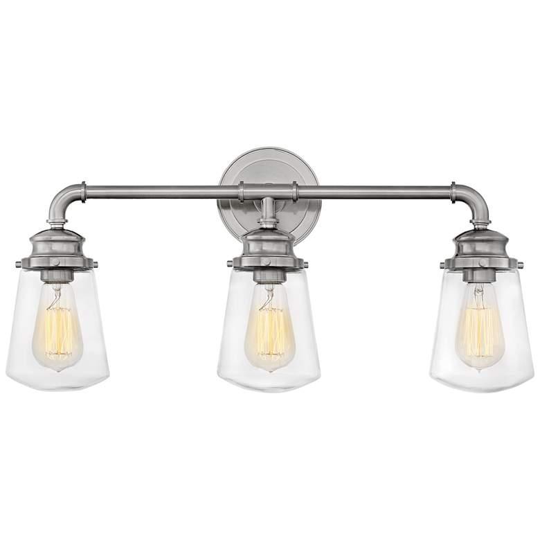 "Hinkley Fritz 24"" Wide Brushed Nickel 3-Light Bath Light"