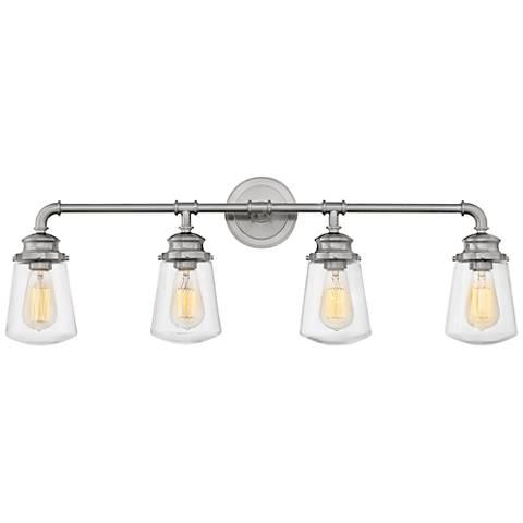 "Hinkley Fritz 33 3/4"" Wide Brushed Nickel 4-Light Bath Light"