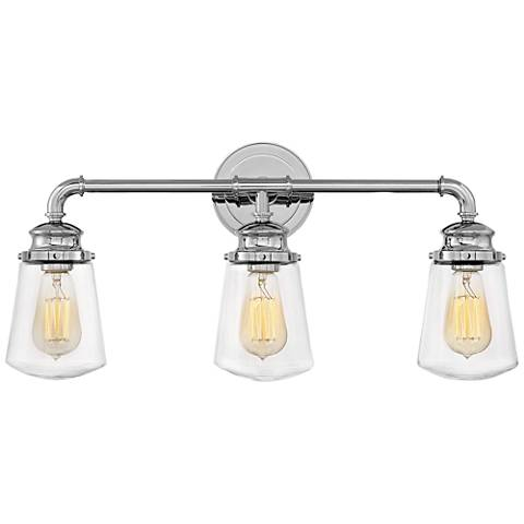 """Hinkley Fritz 24"""" Wide Chrome 3-Light Bath Light"""