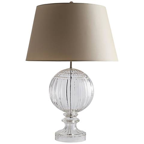 Lilian Clear Ripple Cut Etched Glass Table Lamp