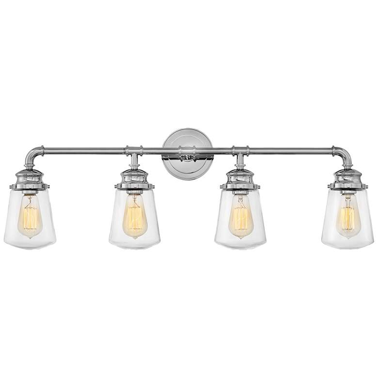 """Hinkley Fritz 33 3/4"""" Wide Chrome 4-Light Bath Light"""