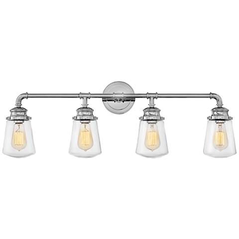 "Hinkley Fritz 33 3/4"" Wide Chrome 4-Light Bath Light"