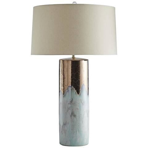Joel Metallic Bronze and Mint Reactive Glaze Table Lamp