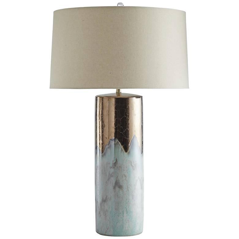 Joel Metallic Bronze and Mint Reactive Glaze Table Lamp