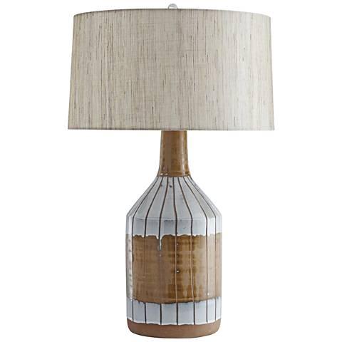 Lex Terracotta and Milky White Glaze Ceramic Table Lamp