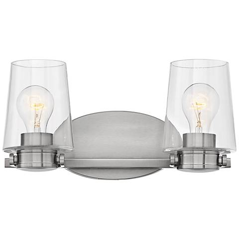 """Hinkley Branson 7 1/4""""H Brushed Nickel 2-Light Wall Sconce"""