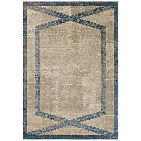 Libby Langdon Winston 5816 Tan and Teal Area Rug
