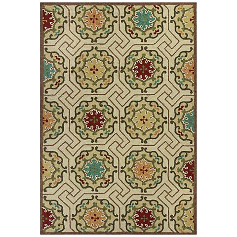 Meridian 2520 Ivory Mosaic Outdoor Area Rug