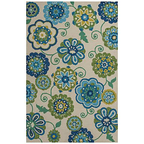 Meridian 2529 Ivory and Blue Verano Outdoor Area Rug