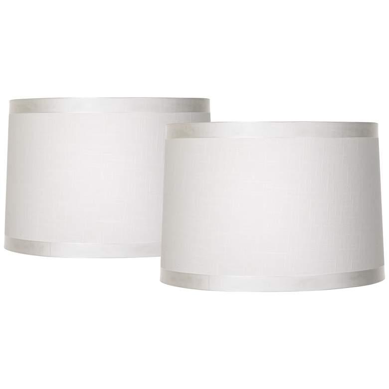 Off White Fabric Set of 2 Drum Shades 15x16x11 (Spider)