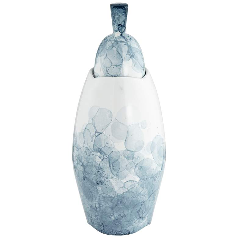 "Blue and White 16 1/2"" High Floral Ceramic Storage Jar"