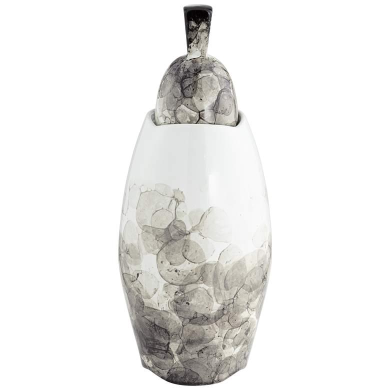 "Black and White 16"" High Floral Ceramic Storage Jar"
