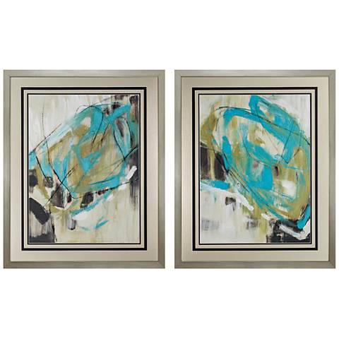 """Whirling 32"""" High 2-Piece Framed Wall Art Set"""