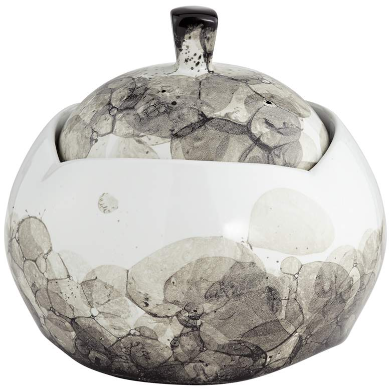 "Black and White Ceramic 7 1/2"" High Floral Storage Jar"