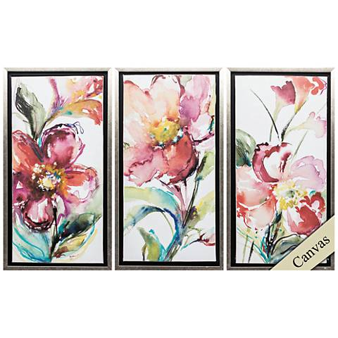 "Happy Blooms 25"" High 3-Piece Framed Canvas Wall Art Set"