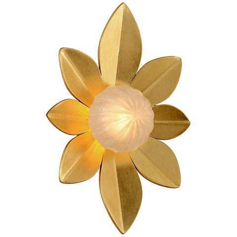 "Corbett Gigi 15"" High Gold Leaf LED Wall Sconce"