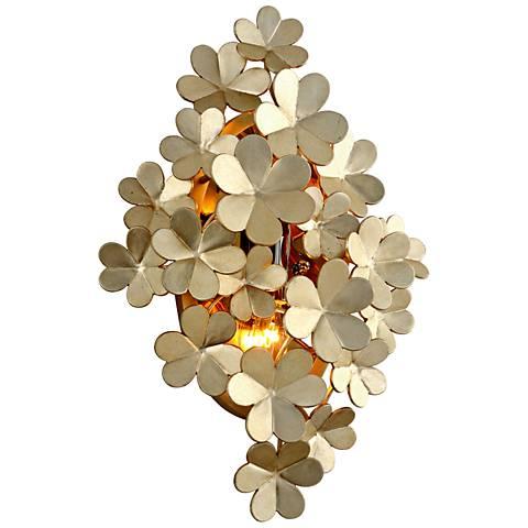"""Corbett Gigi 17 3/4"""" High Silver Leaf Wall Sconce"""
