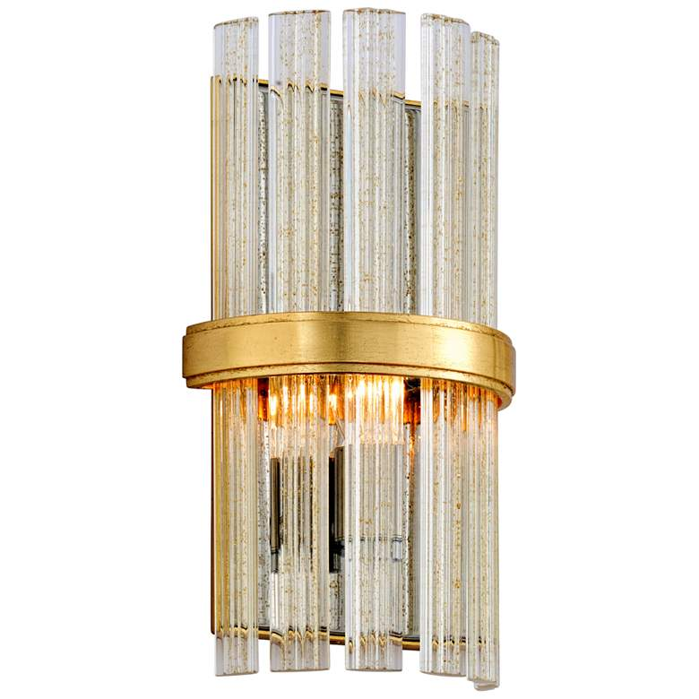 "Corbett Symphony 12"" High Gold Leaf Wall Sconce"