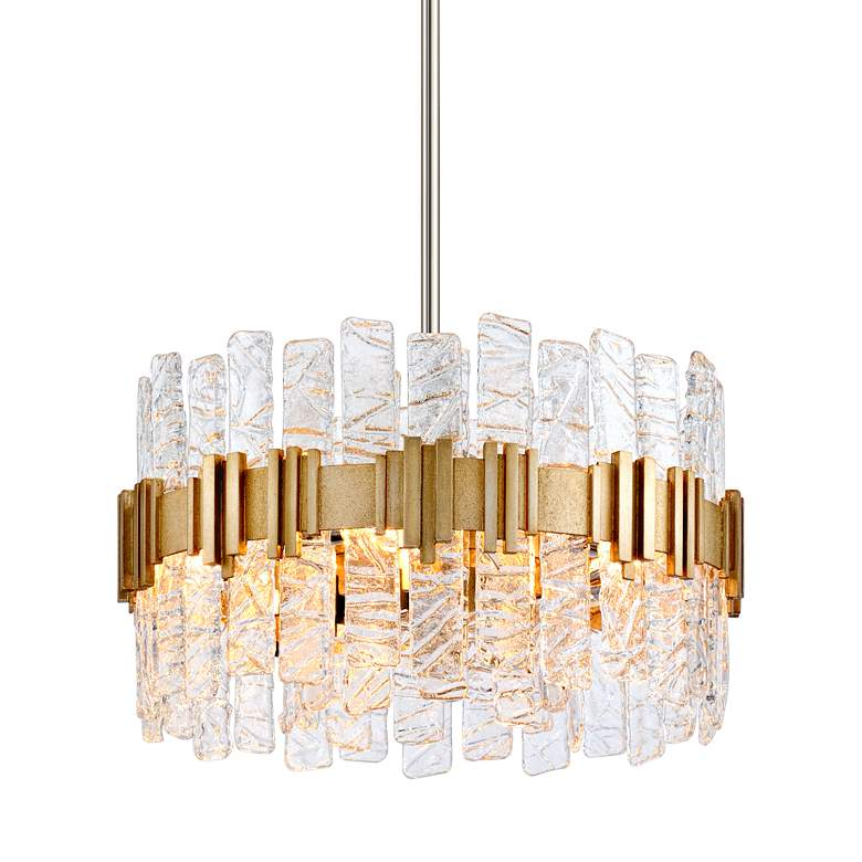 """Corbett Ciro 20"""" Wide Silver Leaf Pendant Light"""