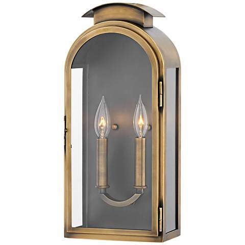 "Hinkley Rowley 18""H Light Antique Brass Outdoor Wall Light"