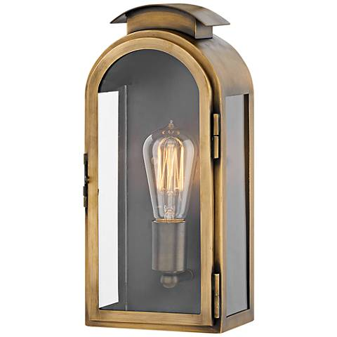 "Rowley 13 1/4"" High Light Antique Brass Outdoor Wall Light"