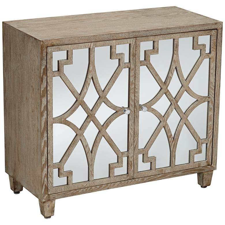 "Rowan 34"" Mirrored Whitewashed Fretwork 2-Door Accent Chest"