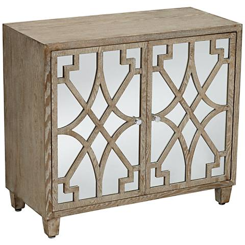 Rowan Mirrored and Whitewashed Fretwork 2-Door Accent Chest