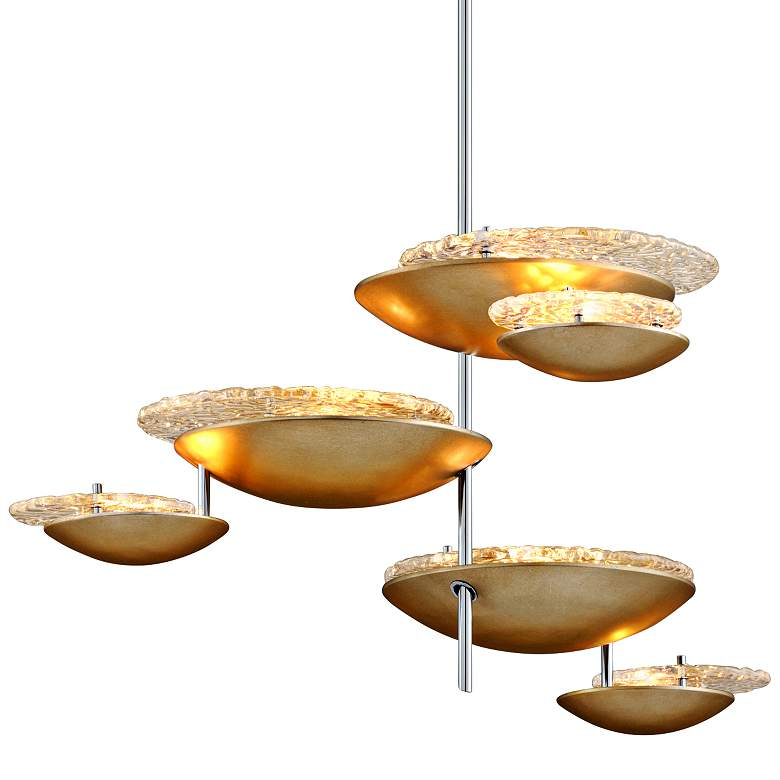 "Corbett Libra 30 1/4"" Wide Silver Leaf 6-Light LED Pendant"