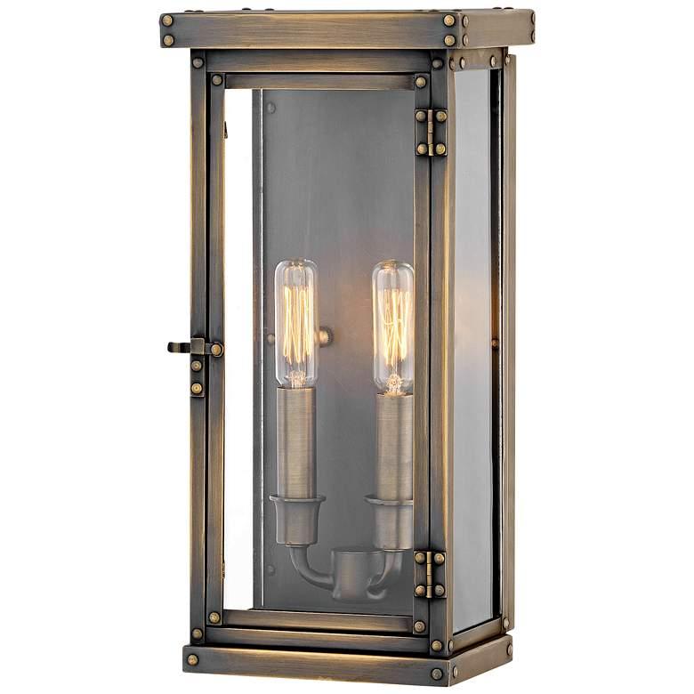 "Hamilton 14 1/4"" High Dark Antique Brass Outdoor Wall Light"