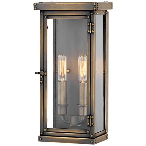 "Hamilton 14 1/4"" High Dark Antique Brass Outdoor Wall Light"
