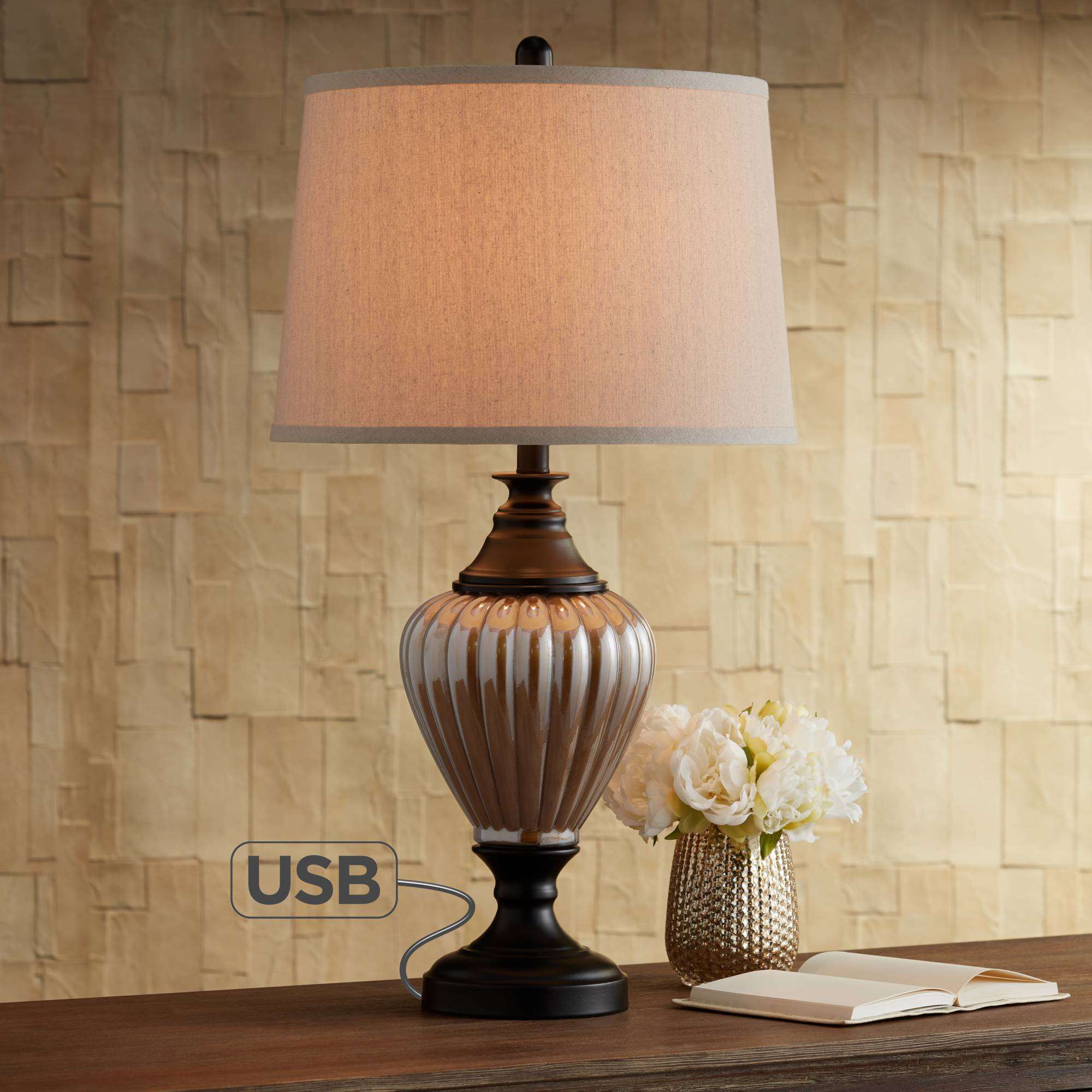 traditional table lamp with usb glass and black metal for