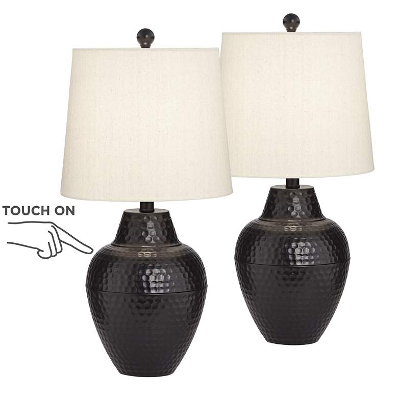 Gomer Bronze LED Touch Table Lamp Set of 2