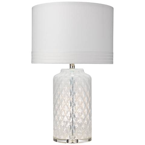 Jamie Young White Diamond Clear Glass Table Lamp