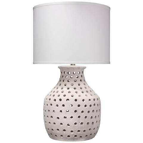 Jamie Young Porous Matte White Organic Ceramic Table Lamp