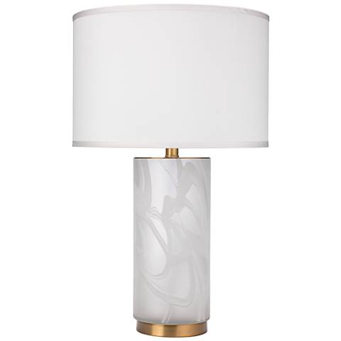 Streamer Small Matte Clear and White Swirl Glass Table Lamp