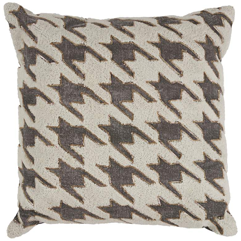 "Ivory and Gray Houndstooth 18"" Square Throw Pillow"