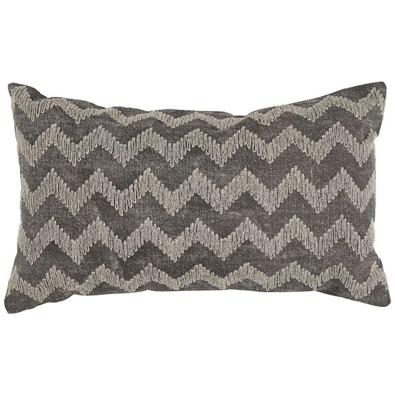 """Gray Chevron Lumbar 20"""" x 12"""" Throw Pillow"""