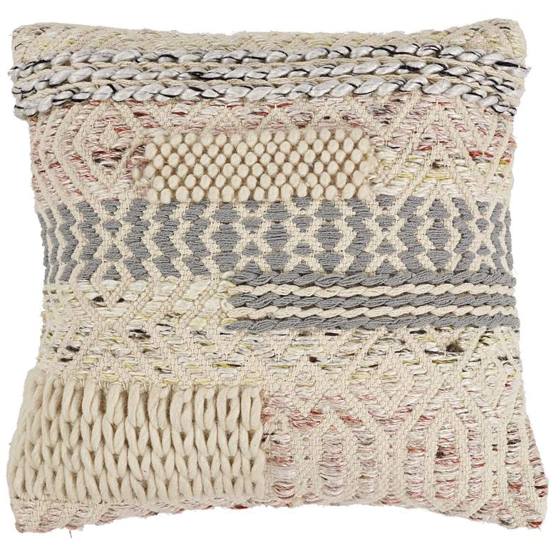 "Ivory and Blush Cabo 18"" Square Throw Pillow"