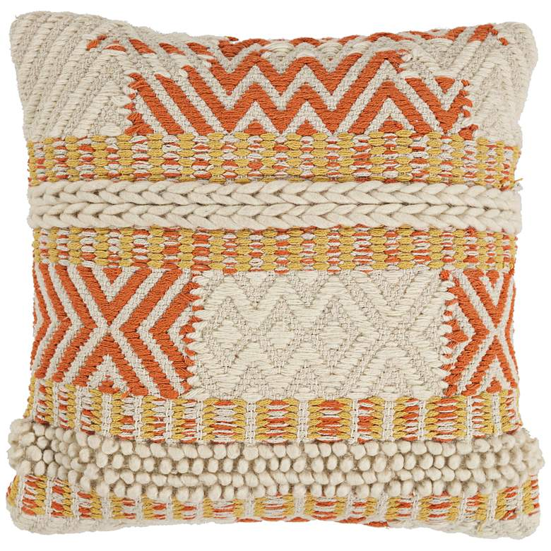 """Ivory and Spice Playa 18"""" Square Throw Pillow"""