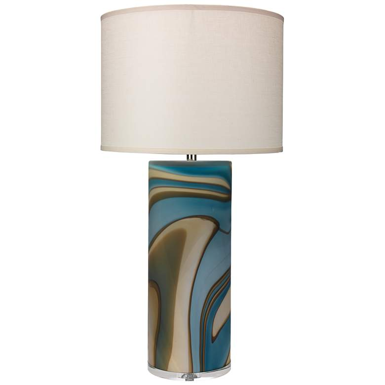 Jamie Young Terrene Large Matte Gray Swirl Glass Table Lamp
