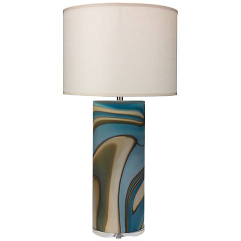 Jamie Young Terrene Large Matte Gray Swirl Glass Table Lamp