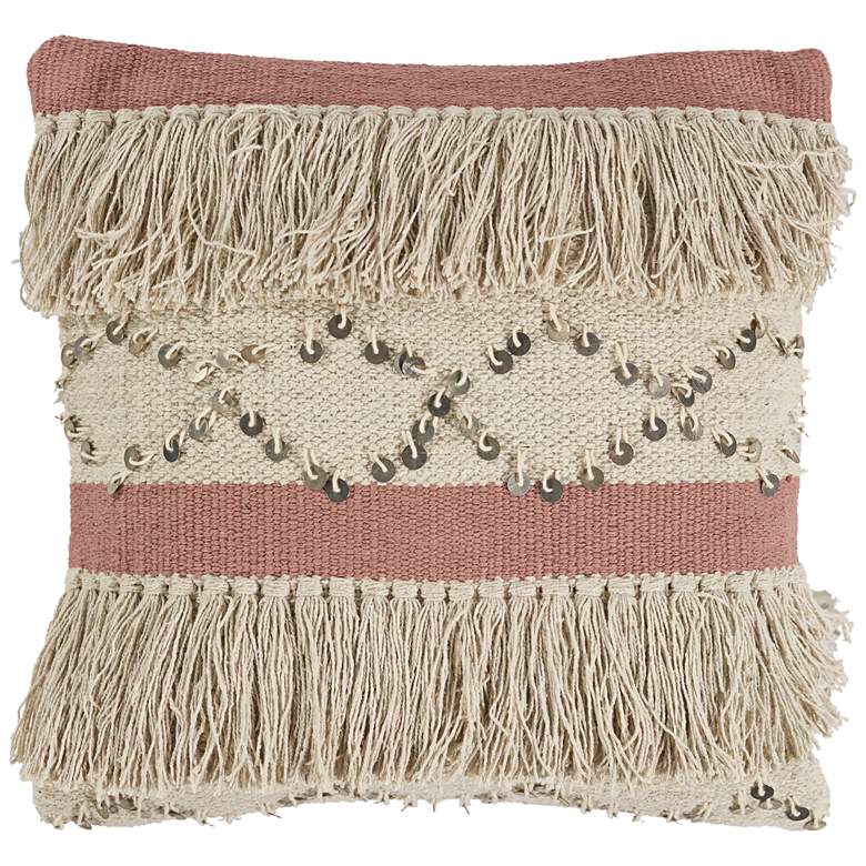 "Ivory and Blush Treasure 18"" Square Throw Pillow"