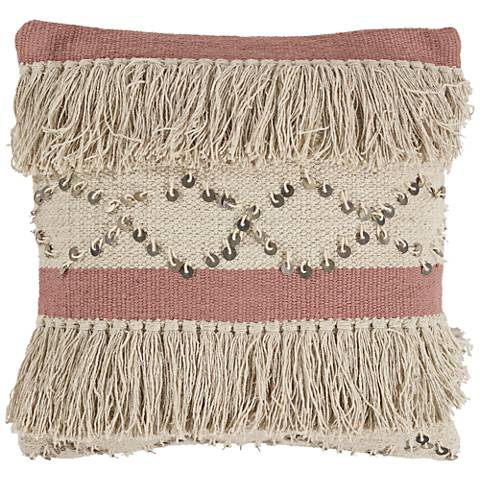 """Ivory and Blush Treasure 18"""" Square Throw Pillow"""