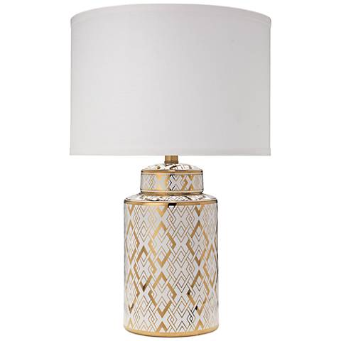 Jamie Young Astrid Gold and White Ceramic Table Lamp